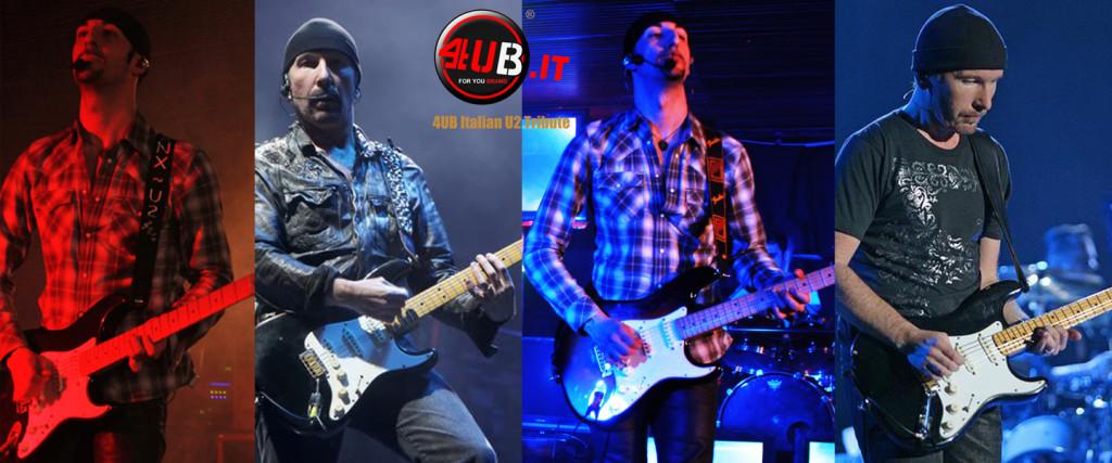4UB Italian U2 Tribute - Anx & The Edge - Fender American Stratocaster Black White